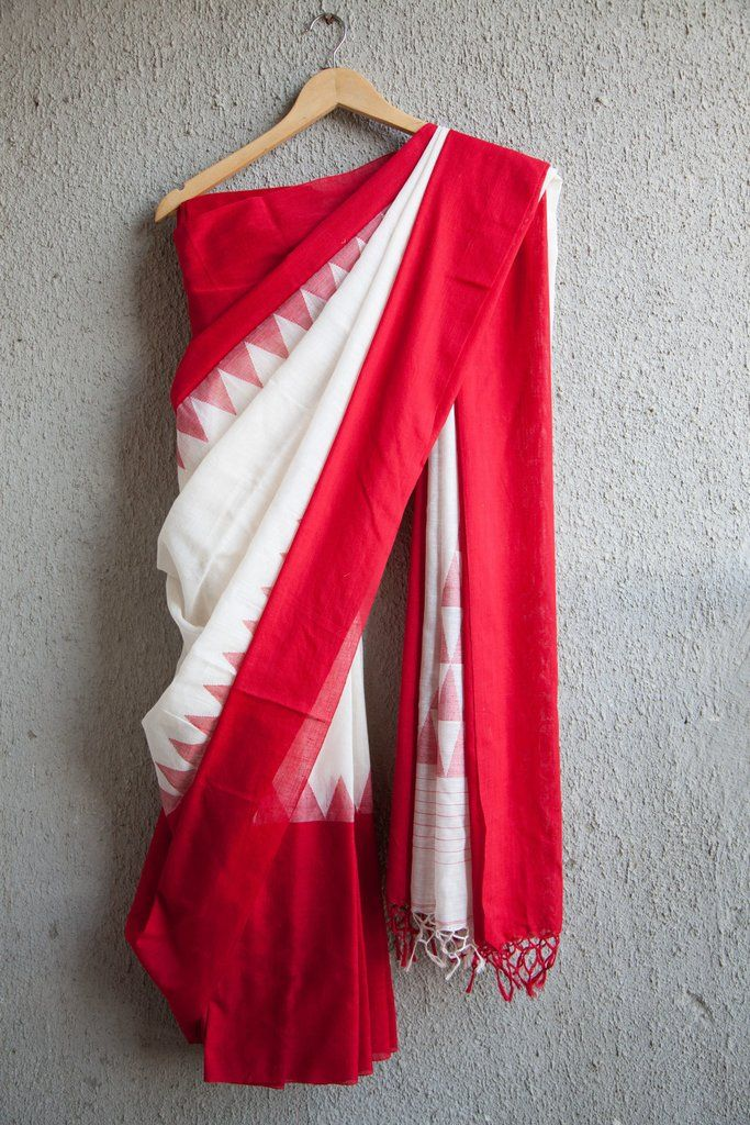 White Khadi saree with Laal Paar (Red border), is very soft and light weight. The product is from West Bengal known for its fine fabrics. The saree is elegant a