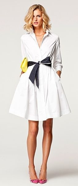 white collar dress and a black belt; add color as needed.