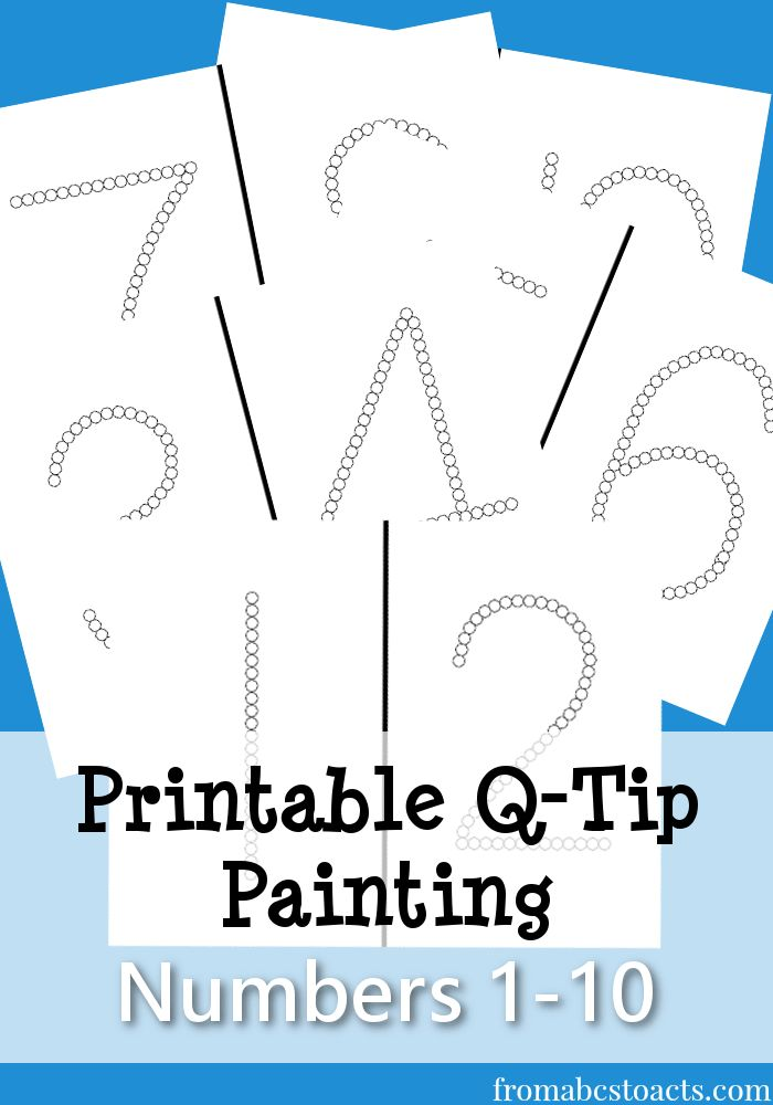 Printable for q-tip painting numbers 1 through 10.  Great fine motor activity for children.