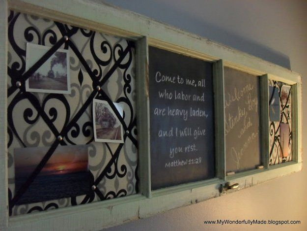 Window Frame Memo Board | 20 DIY Shabby Chic Decor Ideas