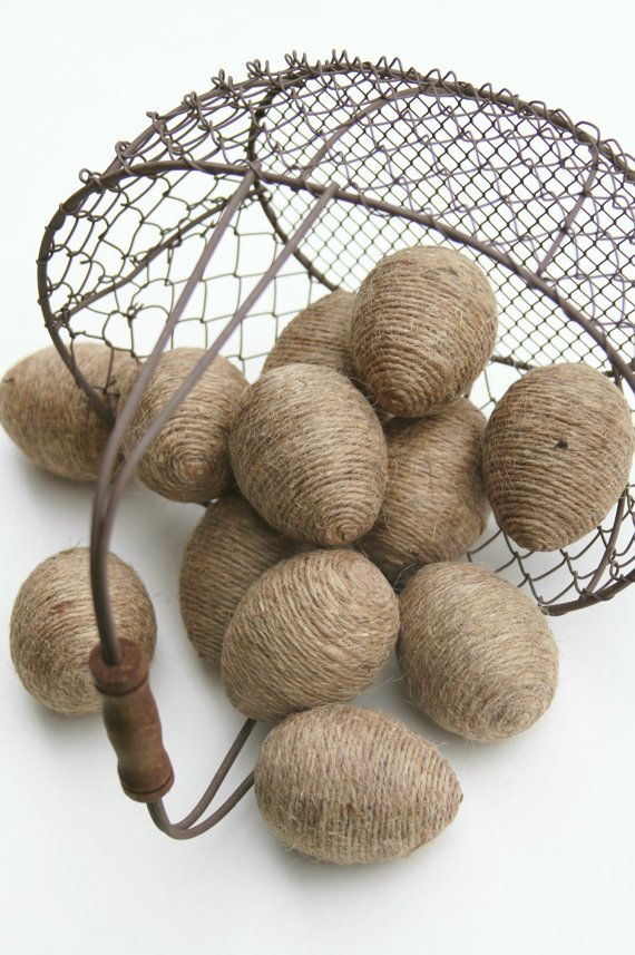 Jute Twine Eggs One Dozen In Natural Twine Bowl or by FourRDesigns, $26.00