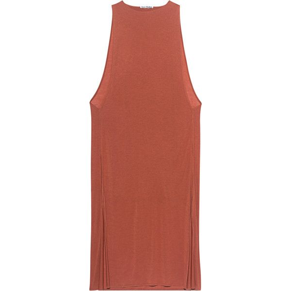 ACNE STUDIOS Ethel Terra // Lyocell t-shirt dress (1 580 ZAR) ❤ liked on Polyvore featuring dresses, red slit dress, t shirt maxi dress, loose maxi dress, t-shirt dresses and loose shirt dress