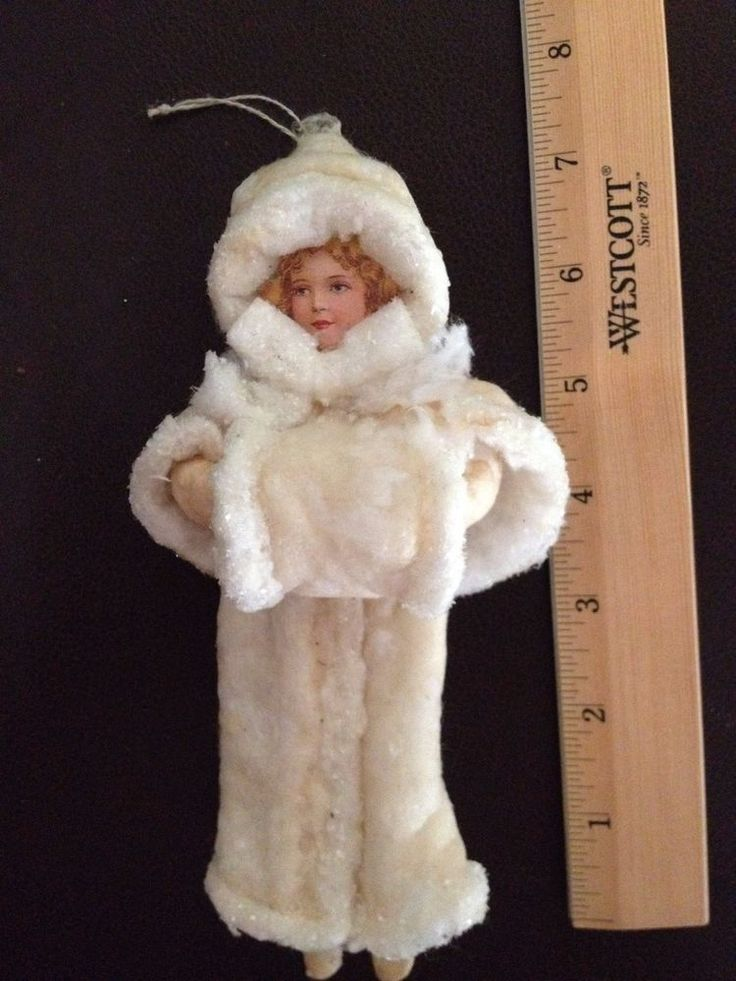 Vtg Cotton Batting Christmas Ornament Lady in White - Diecut Face Figure only