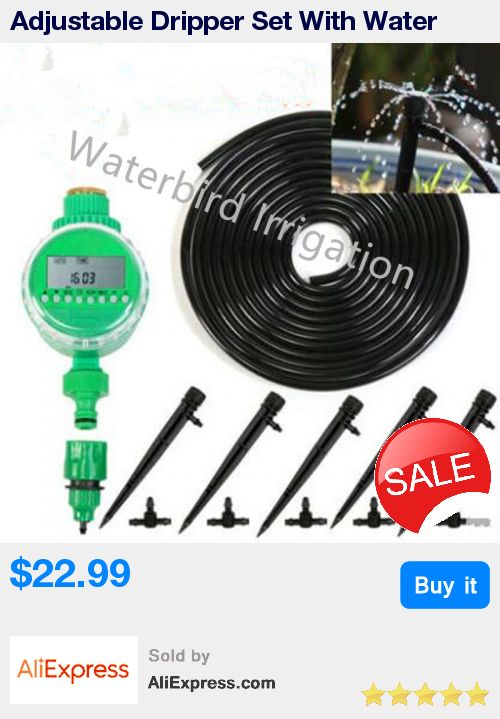 Adjustable Dripper Set With Water Timer DIY Micro Drip Irrigation Plant Self Watering Garden Veranda Water Irrigation Kits B111 * Pub Date: 19:30 Sep 9 2017