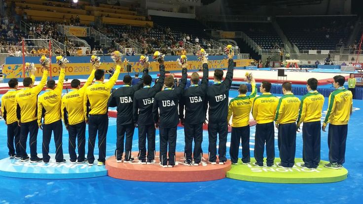 July 11 - Gymnastics Artistic - Men's Team Final USA tops the podium. Brazil wins silver and Colombia wins the bronze.
