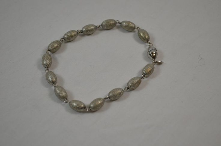 "Milor 14k White Gold Beaded Bead Link Magnetic 8"" Inch bracelet QVC Italy #Milor #Beaded"