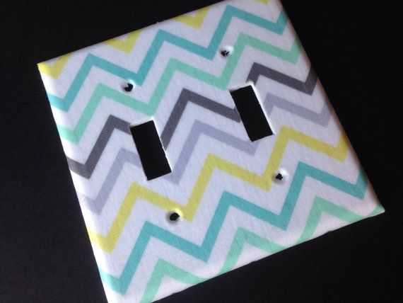 Sea green blue yellow and gray Chevron by COUTURELIGHTPLATES, $6.95 Tiffany blue, teen bedroom decor, bedroom decor, gender neutral nursery decor, nautical nursery