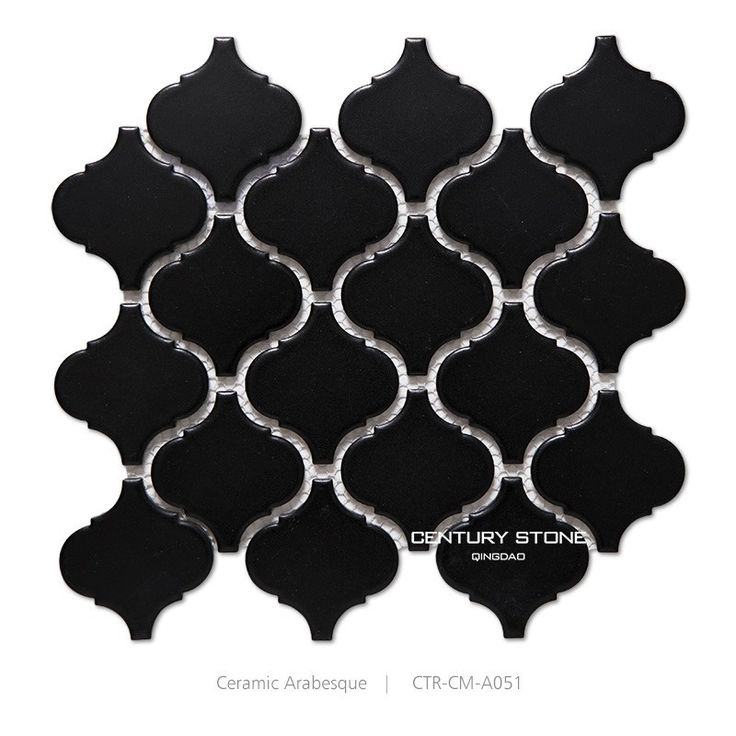Black Arabesque Pattern Ceramic Bathroom Wall Tile , Find