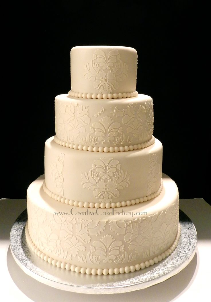 Round Wedding Cakes - Ivory Damask Wedding Cake