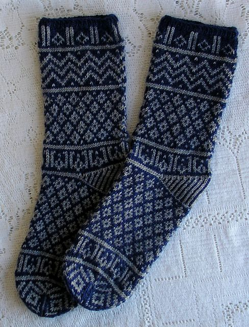 Ravelry: SweaterGoddess' Mamluke Socks - Navy & Grey