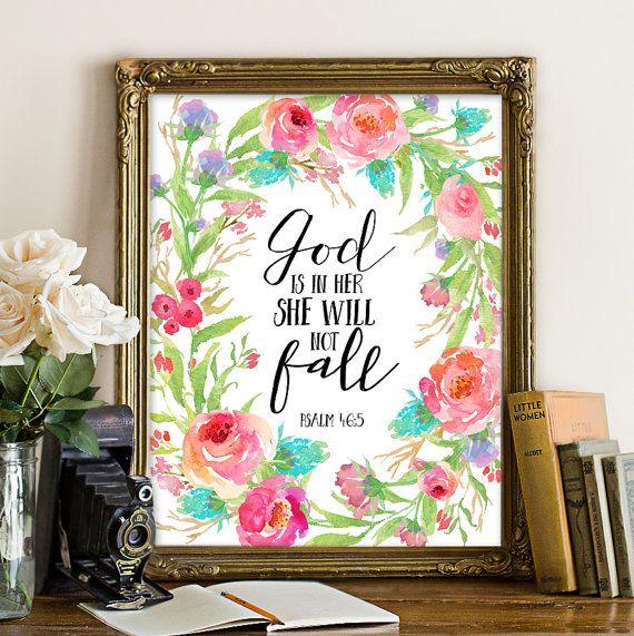 Psalm 46:5, Gott ist mit ihr, sie wird nicht fallen, Bibel druckbare Kunst, Bibel Psalm druckbare, Bibel Heilige Schrift druckbare Bibelvers druckbare