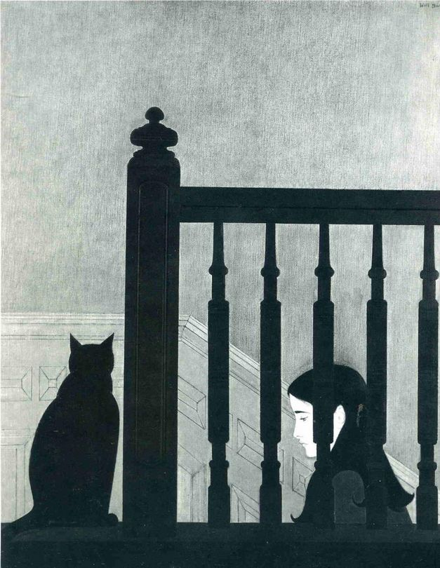 """Will Barnet 1981 - """"The Bannister"""" an American artist known for his paintings, watercolors, drawings, and prints depicting the human figure and animals, both in casual scenes of daily life and in transcendent dreamlike worlds."""