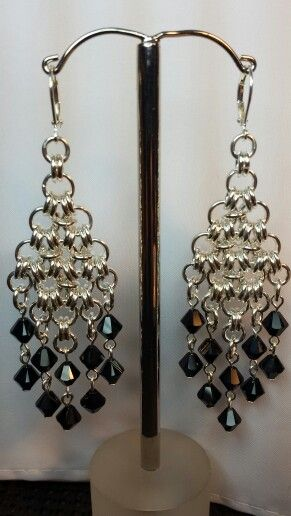 Silver and black Swarovski crystals by Sheilah