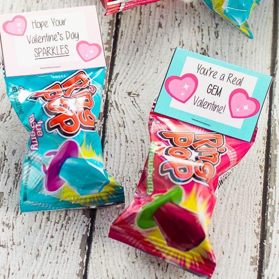 Printable Ring Pop Valentines