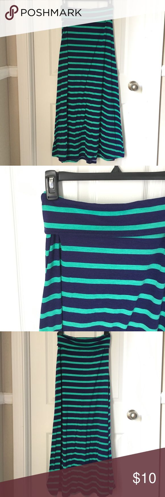 Navy & Teal Stripped Maxi Skirt Navy & Teal stripped maxi skirt with a fold over wait band. Only worn once, but is super cute and comfy. Fits more like a small Mossimo Supply Co. Skirts Maxi