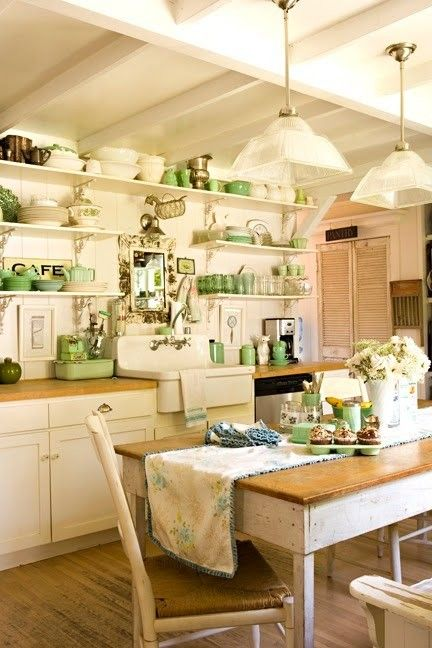 Vintage Home Decor Kitchen in white and green with farm house sink, great exposed beam ceiling, exposed shelving