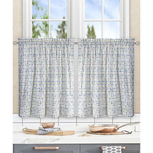 Davins Blue 56 x 36 Inch Tailored Tier Curtains