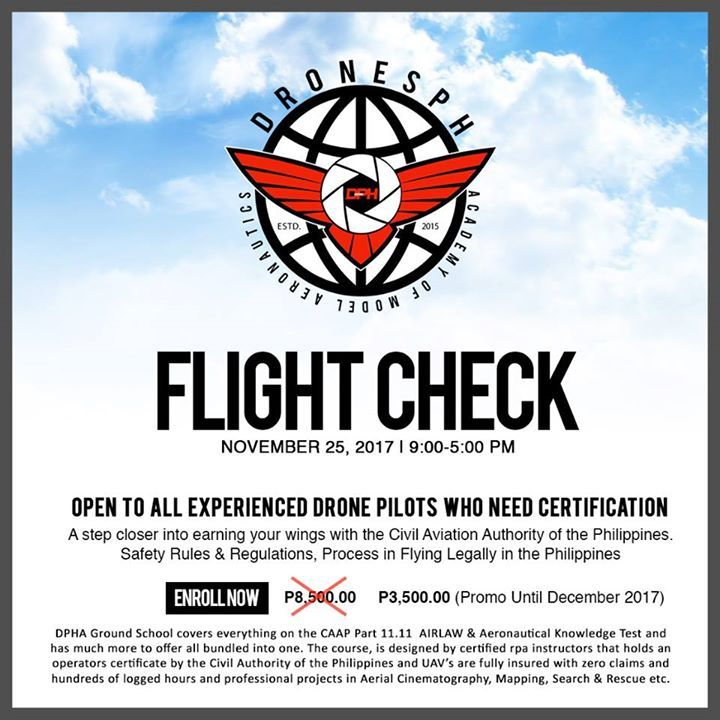 GET FLIGHT CHECKED & CERTIFIED BY DRONESPH ACADEMY OF MODEL AERONAUTICS!   Get a step closer into earning your wings with the Civil Aviation Authority of the Philippines and avoid paying 300-500k FINES!!  Flight Check is a 1 day 6HR hands on RPA Ground Schooling and Hands on course!   Tag a friend who needs to get certified by DPHA.   Enroll NOW and get a discount of  P5,000.00 (Promo until December 2017)   For Reservation of your slot call : +639158160005 #action #urban #win #sport #video…