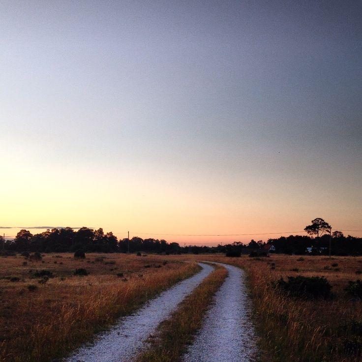 Kvällspromenad längs vita grusvägar ute på Fårö