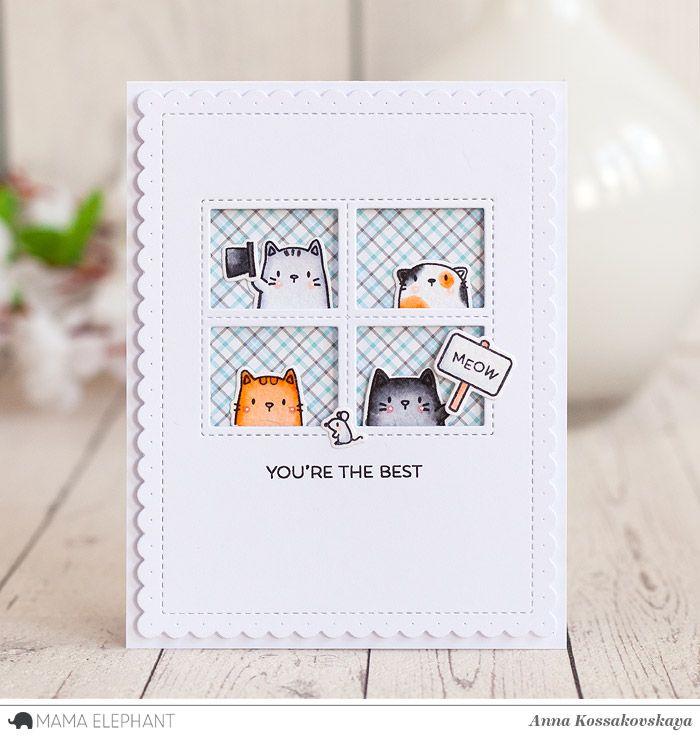 Mama Elephant Stamp Highlight: The Cat's Meow @akossakovskaya @mamaelephant #cardmaking #mamaelephant