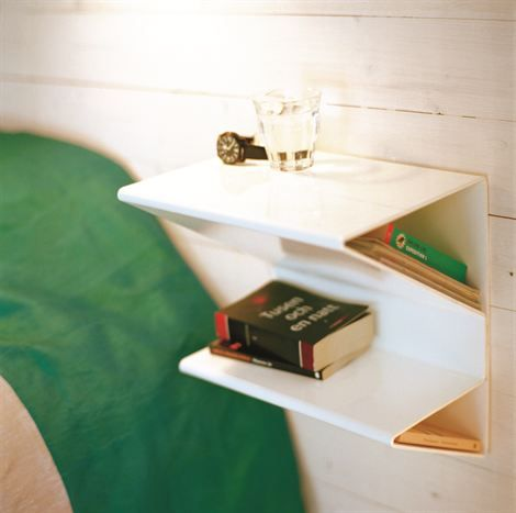 Space Saving Wall-Mount Bedside Table in white plexiglass (Nite Bedside Table) @ Shelterness.com