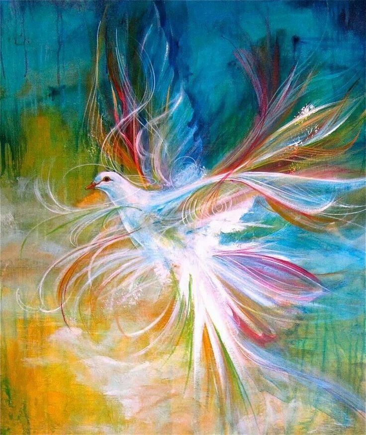 ♡ Holy Spirit Dove digital prophetic art painting.