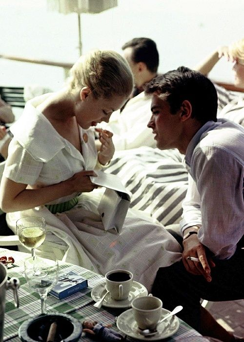 Alain Delon and Romy Schneider in Cannes in 1959