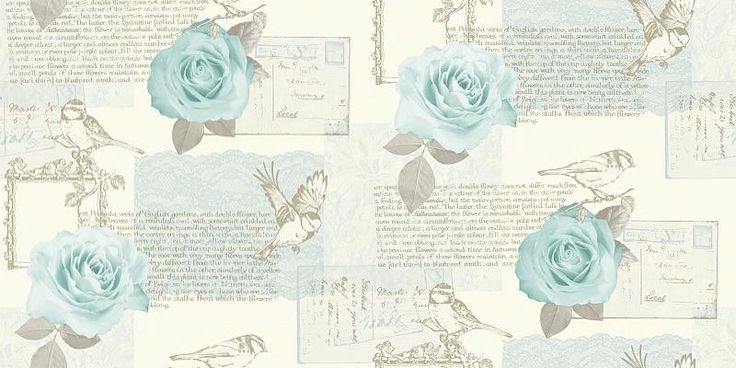 Bella Teal (630404) - Arthouse Wallpapers - A pretty montage of images: birds, flowers, postcards, lace and text about flowers. Available in several colours, shown here in the teal blue green colourway. Please request sample for true colour match.