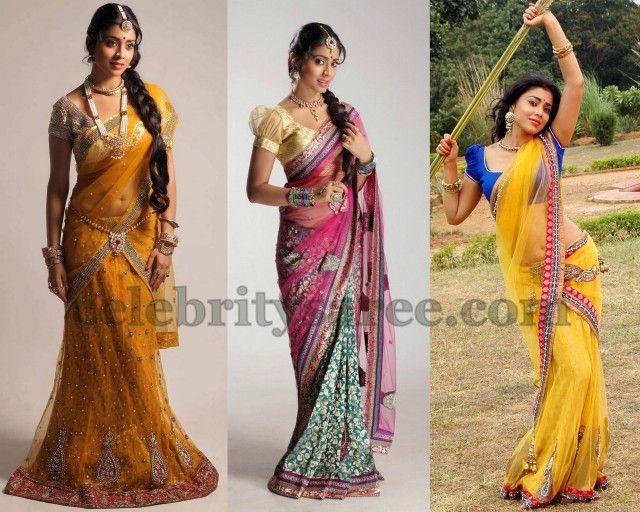 Sriya Saran Lehenga Style Sarees