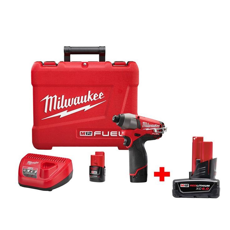 Milwaukee M12 Fuel 12-Volt Brushless Lithium-Ion 1/4 in. Hex Impact Driver Kit with 6.0Ah Battery