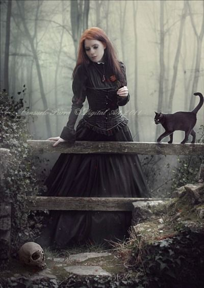 A witch and her familiar.  'When A Woman Loves...' Consuelo Parra, by =Aeternum-Art  Digital Art / Photomanipulation / Dark©2011-2013 =Aeternum-Art.