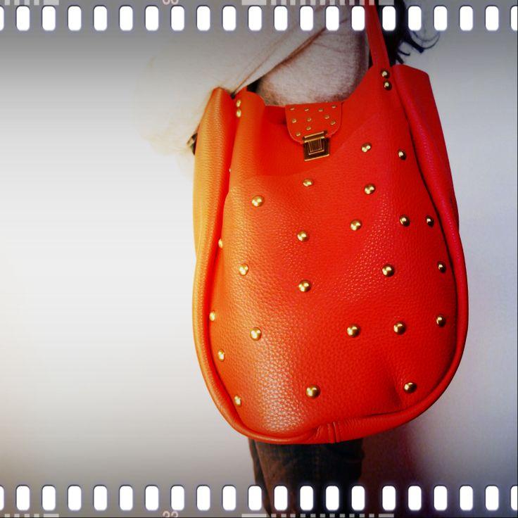 neroli red leather handbag