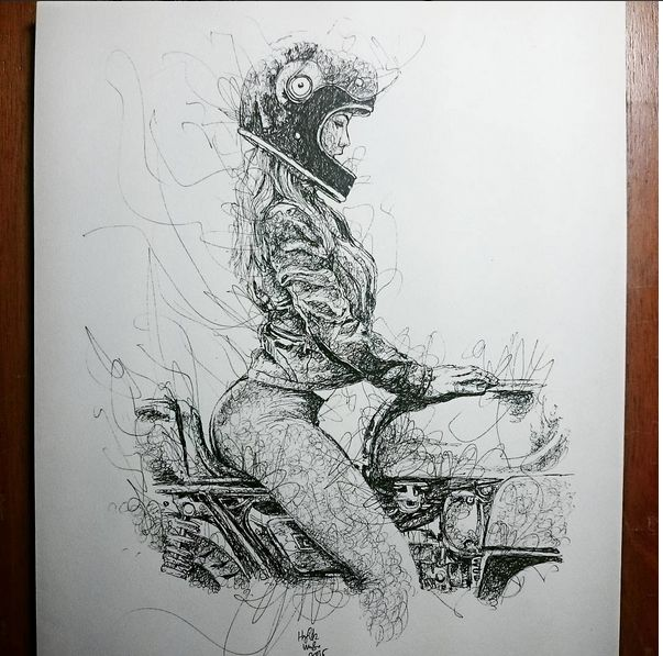 pinterest.com/fra411 #bike #art - The Superb Motorcycle Sketches Of Hafidz Musa - Rusty Knuckles - Motors and Music for True Grit Characters - Rock N' Roll, Country, Metal, Punk Rock