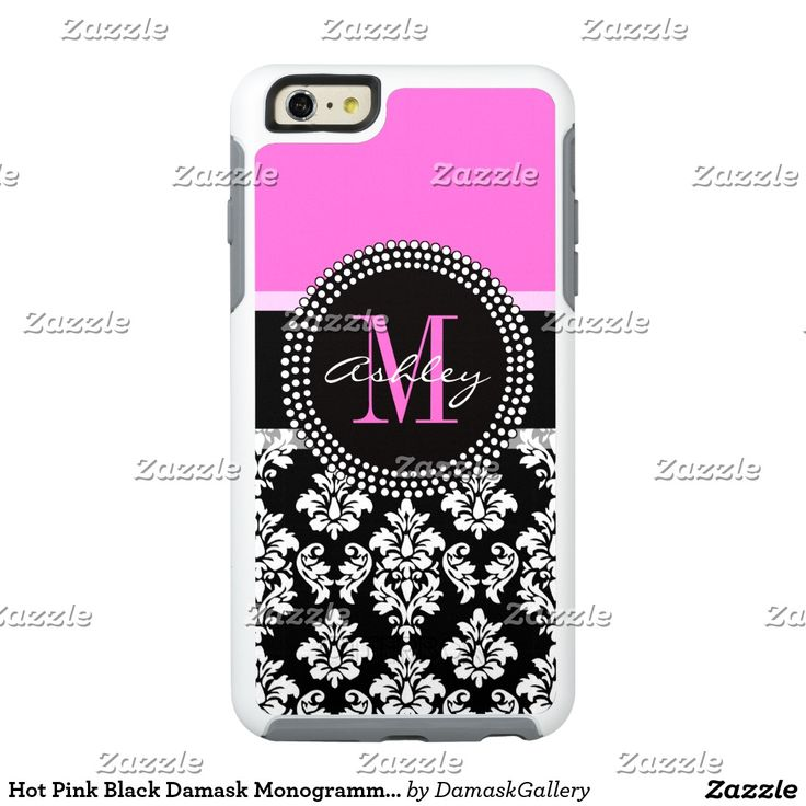 Hot Pink Black Damask Monogrammed
