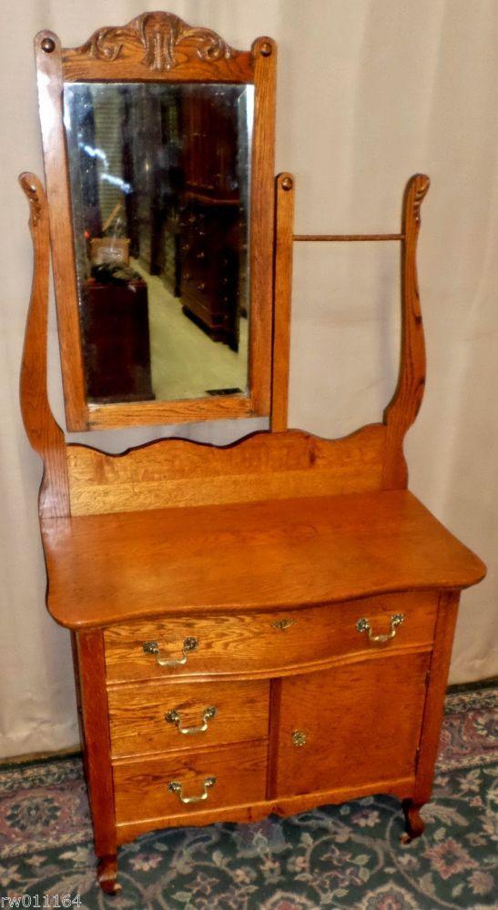 ANTIQUE Rustic Oak Serpentine Hotel WashstandChestSm DresserTowel RackMirror  Favorite