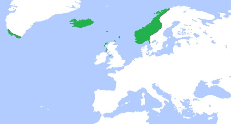 The Kingdom of Norway (green), ca. 1265, at its greatest extent.