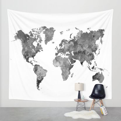 8 best new york city images on pinterest new york city city art world map in watercolor gray wall tapestry by paulrommer society6 gumiabroncs Image collections