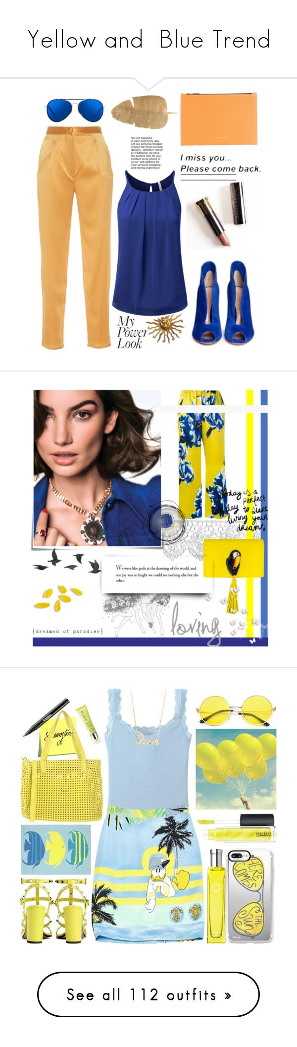 """""""Yellow and  Blue Trend"""" by yours-styling-best-friend ❤ liked on Polyvore featuring Sandra Mansour, Matthew Williamson, Victoria Beckham, Gianvito Rossi, Post-It, Jayson Home, Uniqlo, Iceberg, MAC Cosmetics and Casetify"""