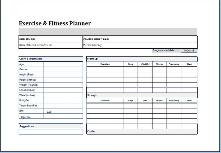 Exercise and Fitness planner template at http://worddox.org/exercise-and-fitness-planner/