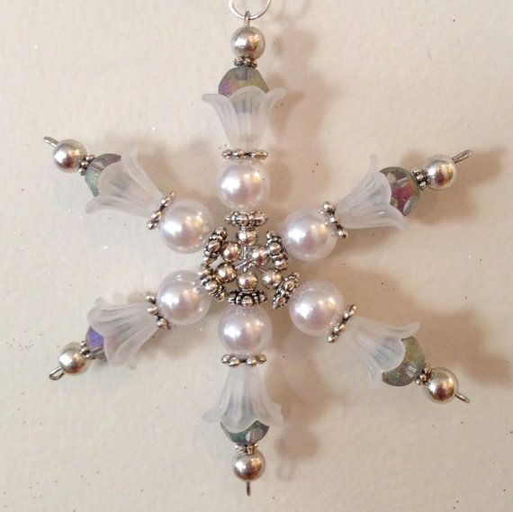 One of a kind Beaded Snowflake Ornament created by by JBHuntStudio