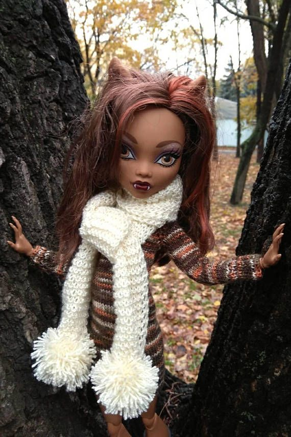 Handmade clothes for 17 inch Monster High dolls.  Hand-knitted colorful dress and beige scarf with pompoms