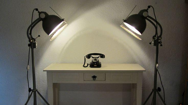 Kindermann Foto Lampe Strahler Spot Hammerschlag Projektionslampe 50er Jahre