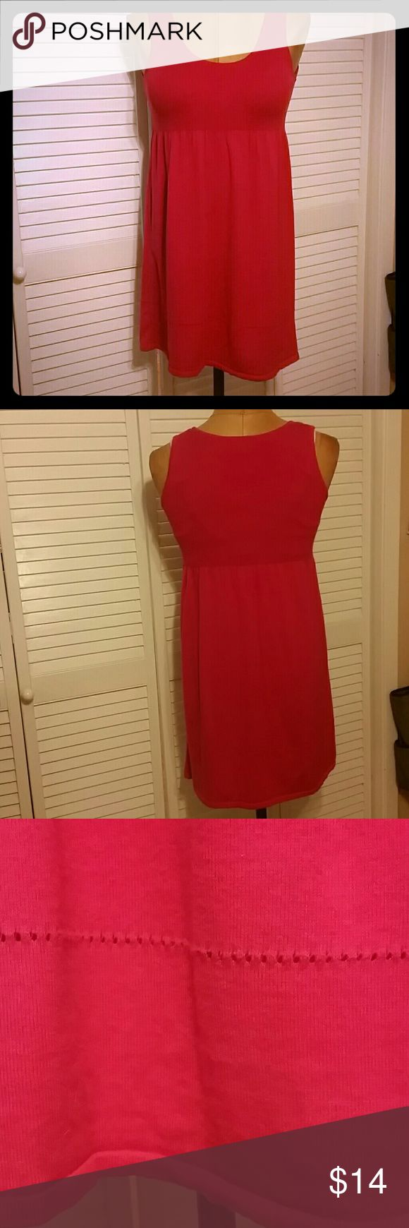 Dress Hot Pink sweater dress, light weight. Machine wash. Empire waist, decorative detail closed to hem line! Comfy dress, casual or dress up, great for travel. 3 H&M Dresses