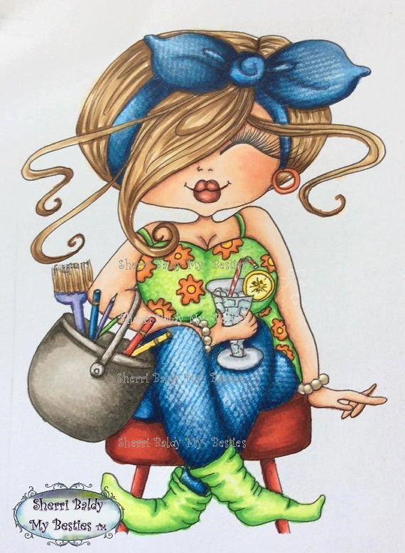 INSTANT DOWMLOAD Digital Digi Stamps Big Eye Big Head Dolls Digi New Fluffy…