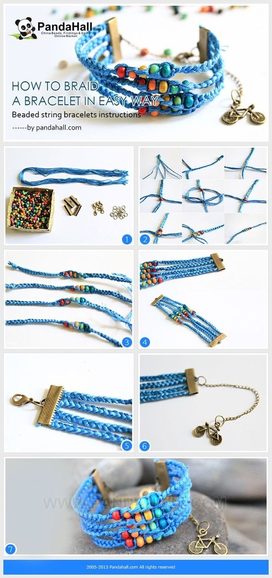 Beaded string bracelets instructions-how to braid a bracelet in easy way by wanting