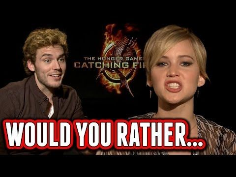 Catching Fire Cast Plays Would You Rather - Jennifer Lawrence, Josh Hutcherson, Sam Claflin