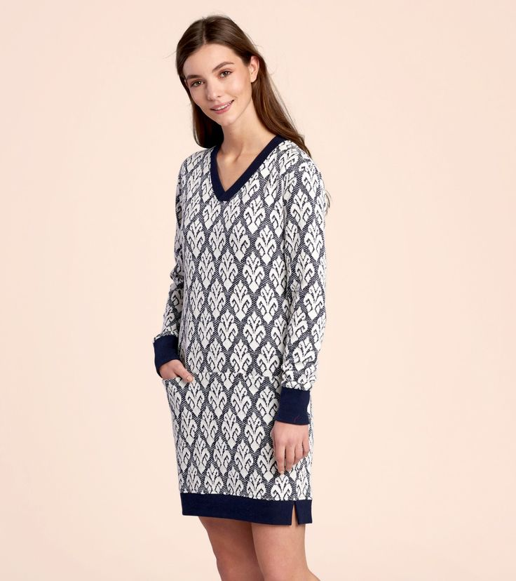 Jacquard Terry Dress in Navy & Cream - Dresses - Shop All - Women  | Hatley Canada