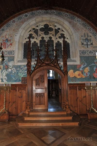 Bouzov, interior hall, closeup of door. Menorahs looted from somewhere - most of the interior furnishings belong to the Order of Teutonic Knights