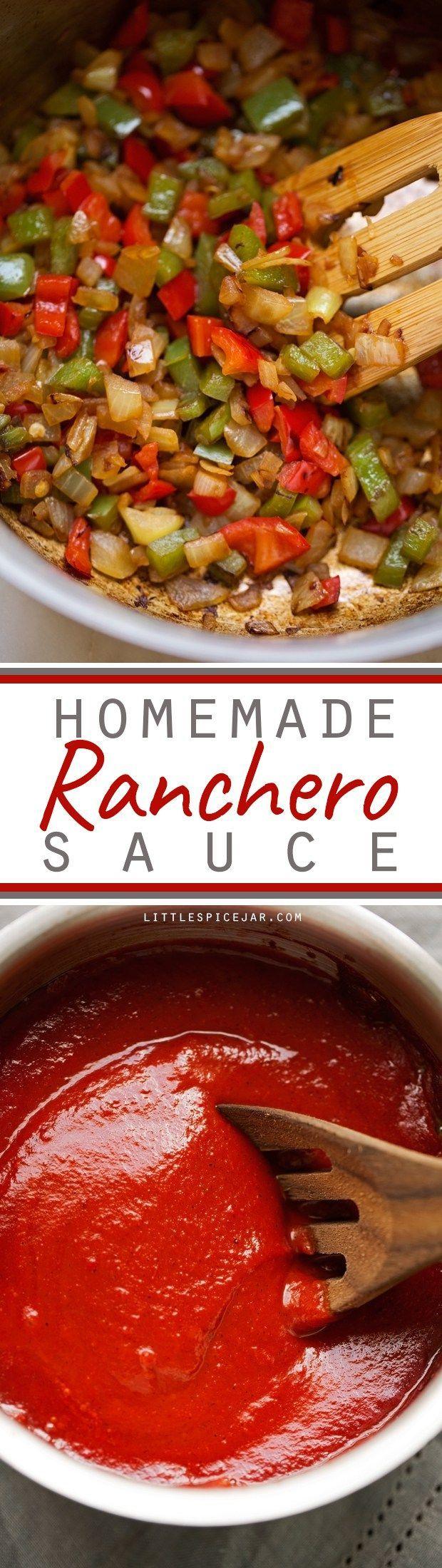 Ranchero Sauce - A simple recipe to make homemade ranchero sauce! This sauce is amazing on huevos rancheros, to dip your breakfast tacos in, or to use as enchilada sauce in casseroles! #rancherosauce #huevosrancheros #tacosauce | Littlespicejar.com