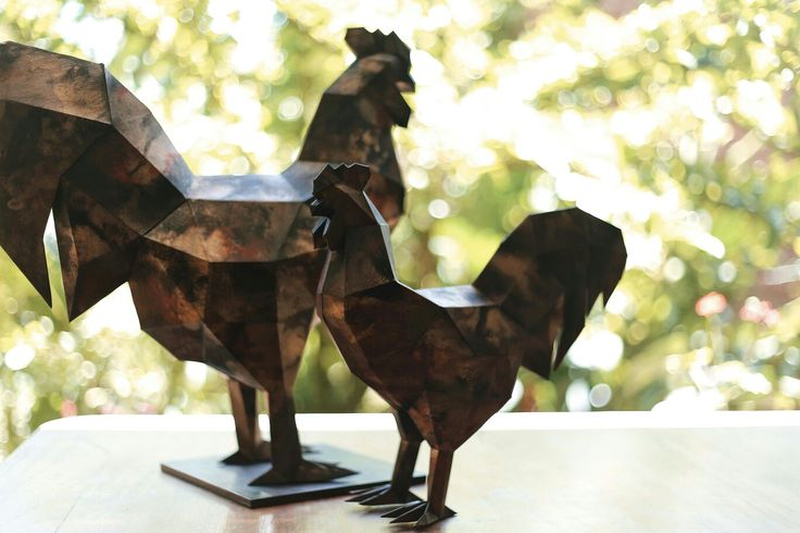 GALLOS EN PAPERCRAFT CON PAPEL DECORADO A MANO